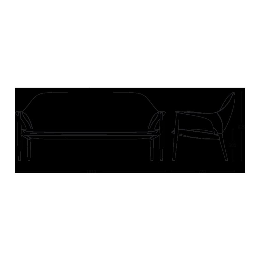 KUNST 3 Seater sofa size