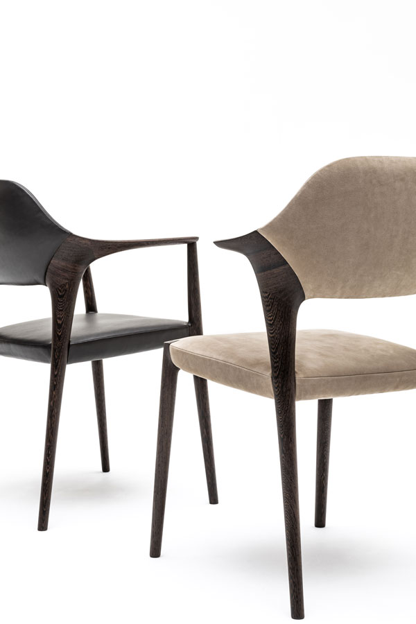 KUNST Diningchair, long arm, Wenge (oiled), Shade leather